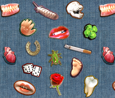 Denim Patches - large fabric by rawbonestudio on Spoonflower - custom fabric