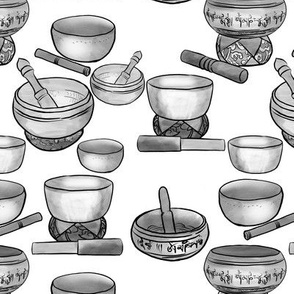 Tibetan Singing Bowls in Black and White