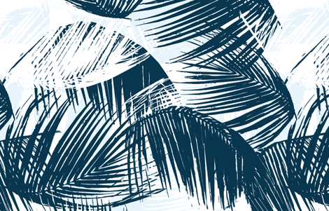 Blue Palm fabric by alison_janssen on Spoonflower - custom fabric