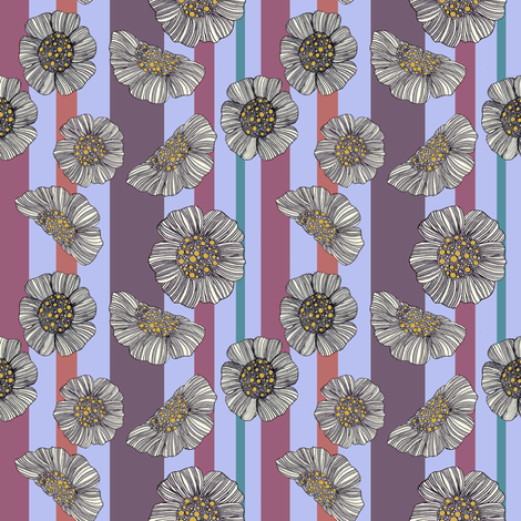 Daisy stripe 1 fabric by inky_leguin on Spoonflower - custom fabric
