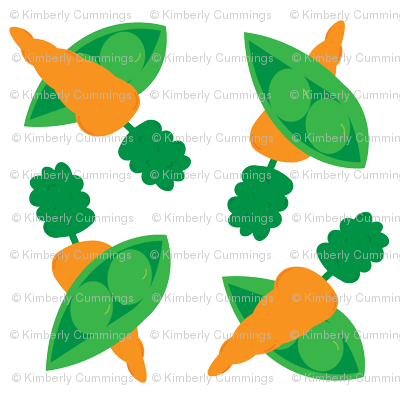 Peas and Carrots Doubled Up - Large Print