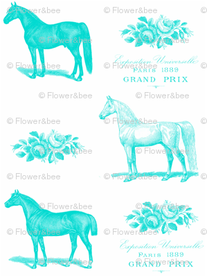 Horses and Roses in Turquoise