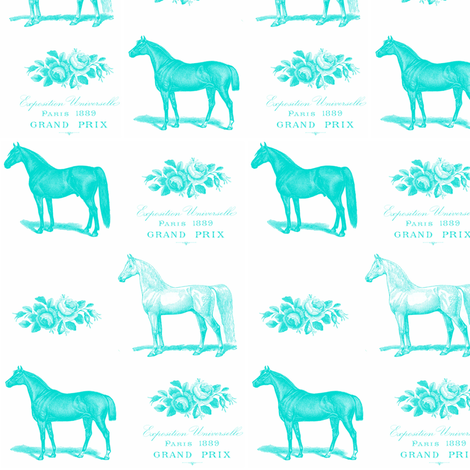 Horses and Roses in Turquoise  fabric by flower&bee on Spoonflower - custom fabric