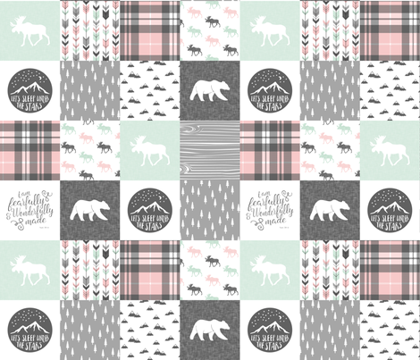 Fearfully and Wonderfully Made Patchwork Fabric || Mint, Pink, Grey fabric by littlearrowdesign on Spoonflower - custom fabric