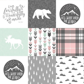 Fearfully and Wonderfully Made Patchwork Fabric || Mint, Pink, Grey