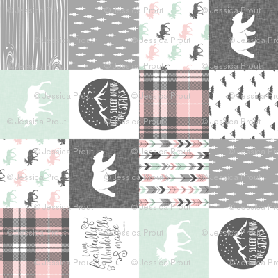Fearfully and Wonderfully Made Patchwork Fabric || Mint, Pink, Grey (90)