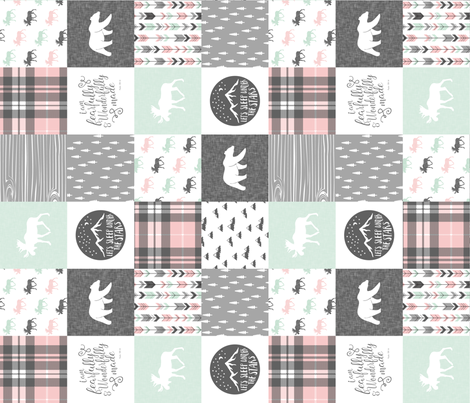 Fearfully and Wonderfully Made Patchwork Fabric || Mint, Pink, Grey (90) fabric by littlearrowdesign on Spoonflower - custom fabric