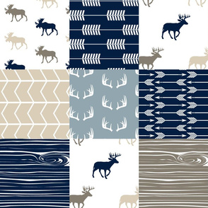 Rustic Woods Patchwork Fabric (moose and deer)