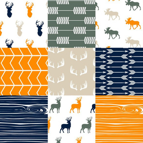 Woodland Patchwork Fabric (navy, orange,green) (90) - buck, moose