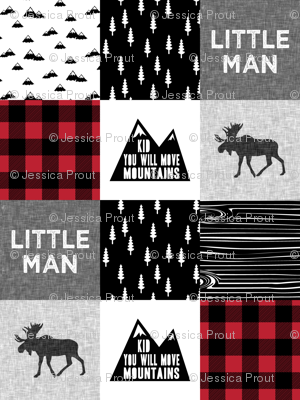 Little Man & You Will Move Mountains Quilt Top - buffalo plaid