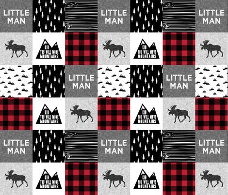 Little Man & You Will Move Mountains Quilt Top - buffalo plaid fabric by littlearrowdesign on Spoonflower - custom fabric