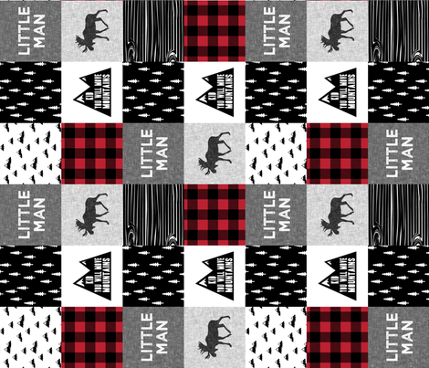 Little Man & You Will Move Mountains Quilt Top - buffalo plaid (90) fabric by littlearrowdesign on Spoonflower - custom fabric