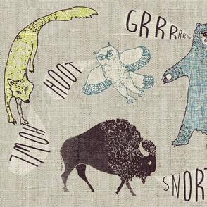 Grr. Howl. Hoot. Snort. LARGE (chartreuse)