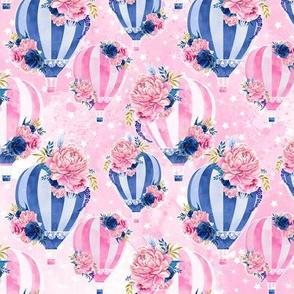 Floral Hot Air Balloon-Pink- MEDIUM