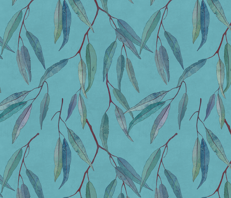 Eucalyptus leaves on blue fabric by lavish_season on Spoonflower - custom fabric
