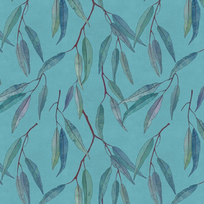 Eucalyptus leaves on blue