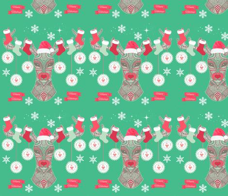 Happy Holiday Deer fabric by floramoon on Spoonflower - custom fabric