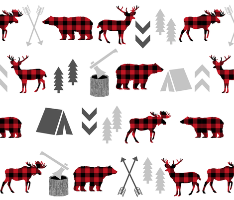 larger version buffalo plaid animals fabric by charlottewinter on Spoonflower - custom fabric