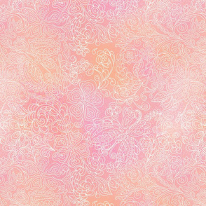 butterfly floral pink & peach