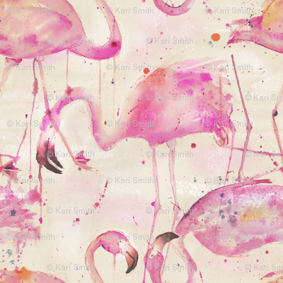 watercolor flamingos in a soft beige palette