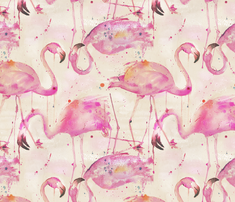 watercolor flamingos in a soft beige palette fabric by karismithdesigns on Spoonflower - custom fabric