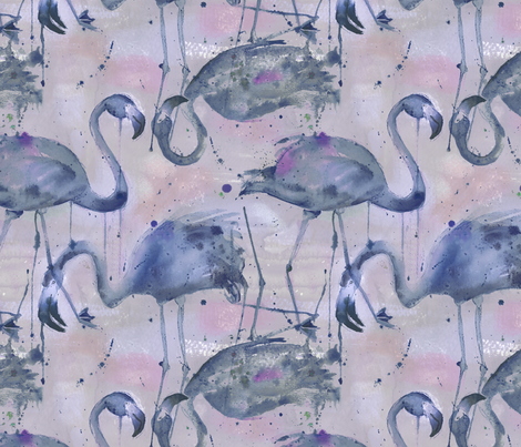 watercolor flamingos in a soft indigo palette fabric by karismithdesigns on Spoonflower - custom fabric