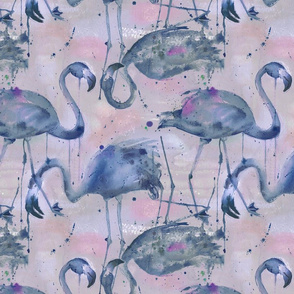 watercolor flamingos in a soft indigo palette