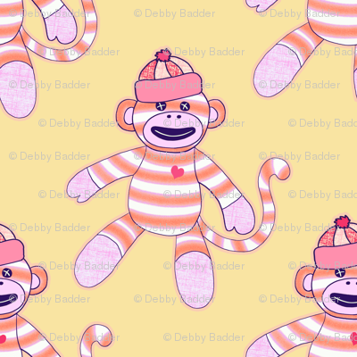happy monkey - orange and pink