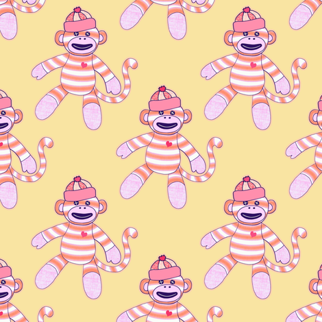 happy monkey - orange and pink fabric by designed_by_debby on Spoonflower - custom fabric