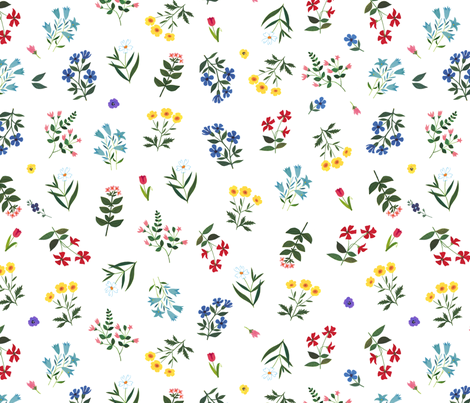 Beautiful flowers from 60s vintage illustration / whimsical / Alain Gree fabric by ricobel on Spoonflower - custom fabric