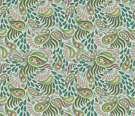Oolong Nature's Paisley fabric by dearchickie on Spoonflower - custom fabric