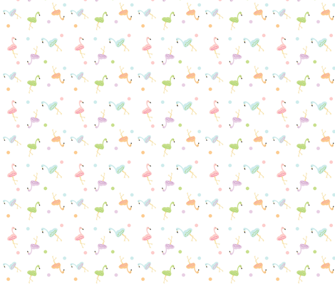 Flamingo Around Polka- 422 SMALL fabric by drapestudio on Spoonflower - custom fabric
