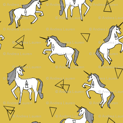 mustard unicorn fabric // unicorn fabric design simple unicorns