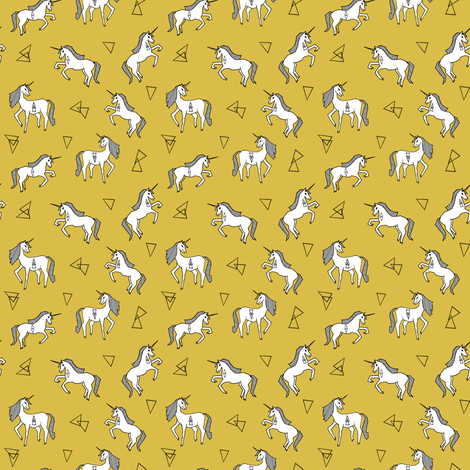 mustard unicorn fabric // unicorn fabric design simple unicorns fabric by andrea_lauren on Spoonflower - custom fabric