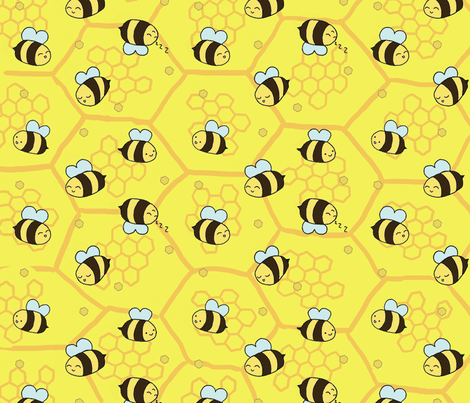 beeshoneycomb fabric by peachpandastudio on Spoonflower - custom fabric