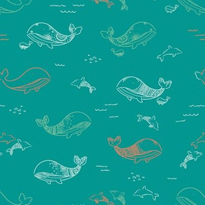 Pretty Whales - Retro Teal