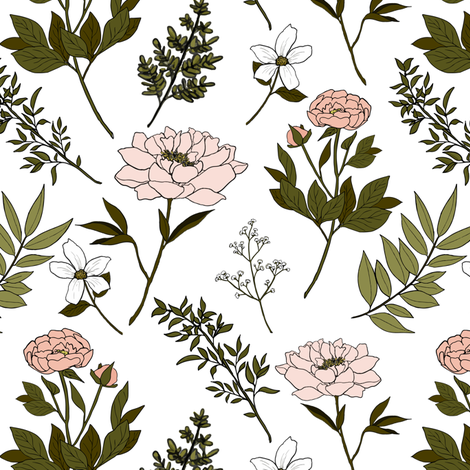 Pale Peony fabric by mintpeony on Spoonflower - custom fabric