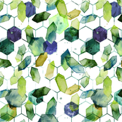 watercolor jade hexagons