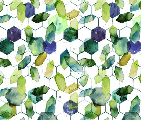 watercolor jade hexagons fabric by karismithdesigns on Spoonflower - custom fabric