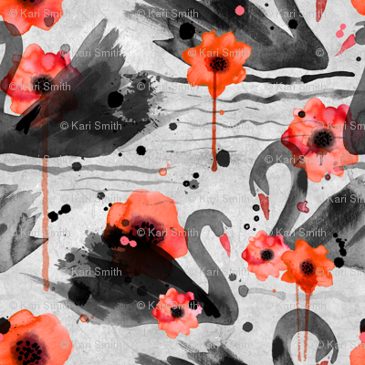 black swans and poppies