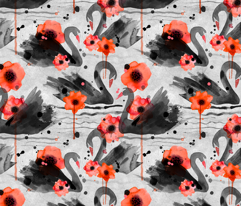 black swans and poppies fabric by karismithdesigns on Spoonflower - custom fabric