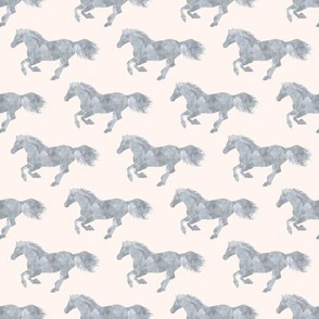 Watercolor Pony in Smoke Grey on Ivory