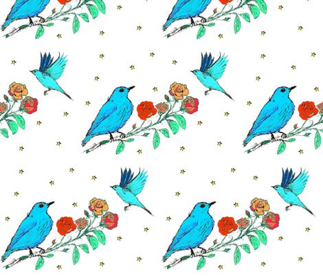 Blue Birds fabric by craftylittlehouse on Spoonflower - custom fabric