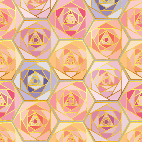 Honeycomb roses fabric by elena_naylor on Spoonflower - custom fabric