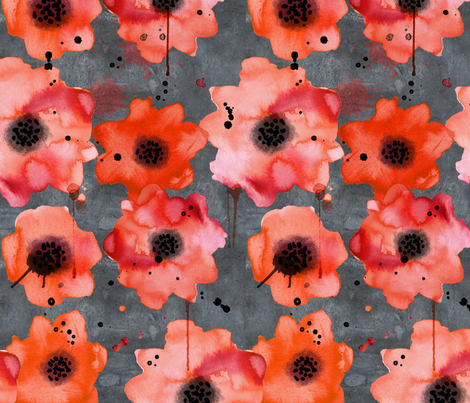 watercolor poppies on dark gray painted background fabric by karismithdesigns on Spoonflower - custom fabric