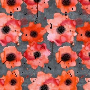 watercolor poppies on dark gray painted background