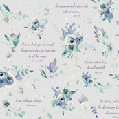Baby Girl Scripture Floral 2 on grey linen