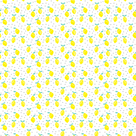 (micro print) lemons - white fabric by littlearrowdesign on Spoonflower - custom fabric