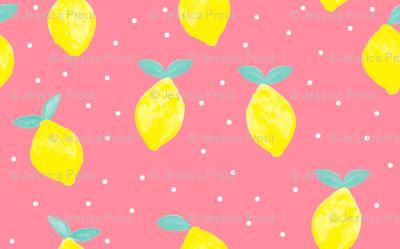 (micro print) lemons - pink