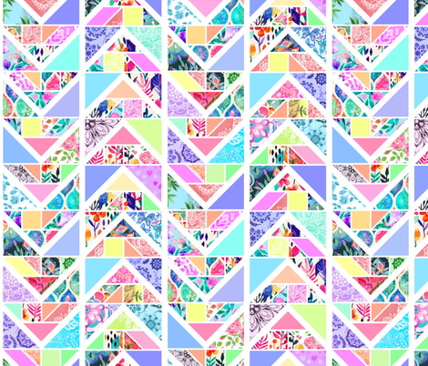 Tangram Chevron Pastel Patchwork fabric by micklyn on Spoonflower - custom fabric